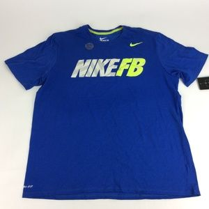 New Nike Mens Blue Logo Dri Fit Cotton Tee